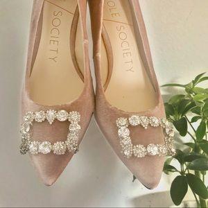 Pink Velvet Rhinestone Heels